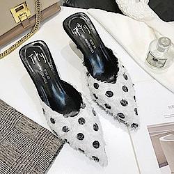 KEITH-WILL時尚鞋館 明星款萊卡網布點點細跟鞋-白色