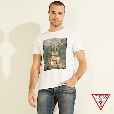 GUESS-男裝-美式照片印刷短T,T恤-白 原價1290