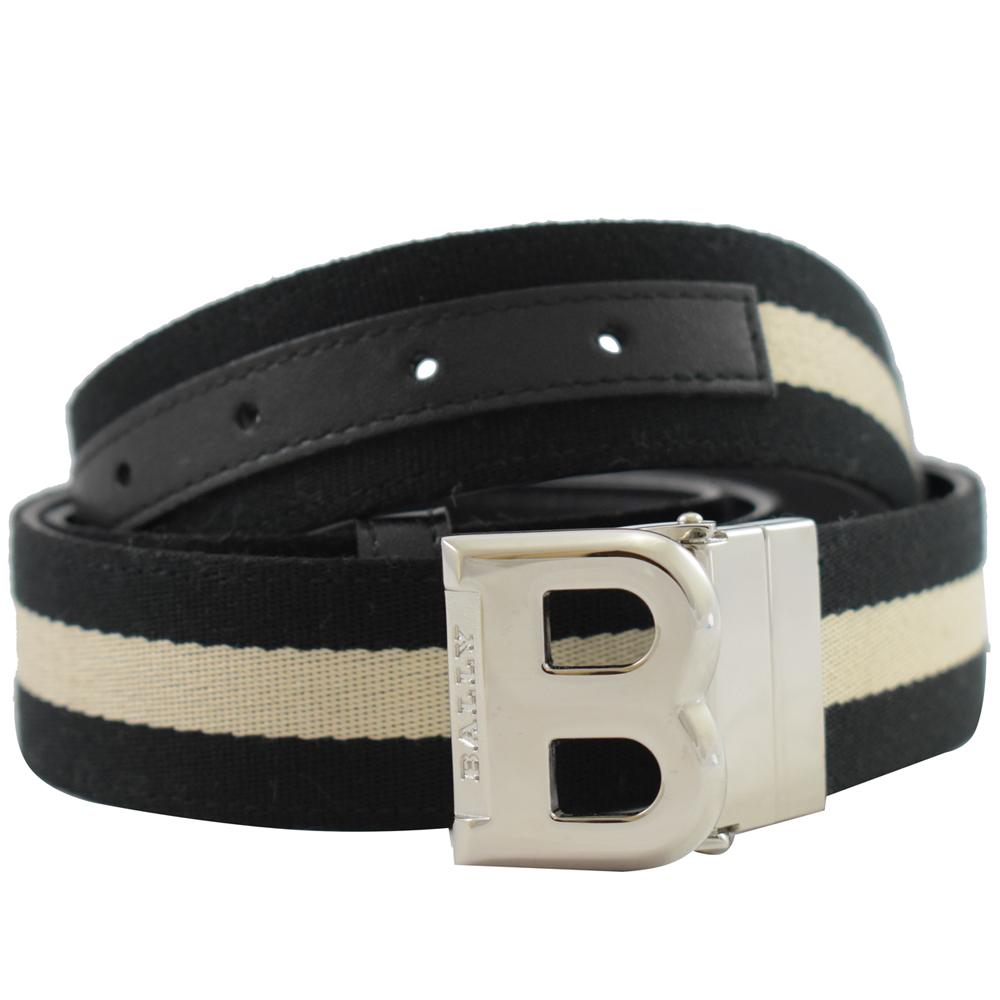 BALLY 經典B LOGO牛皮織布雙面皮帶(黑白)