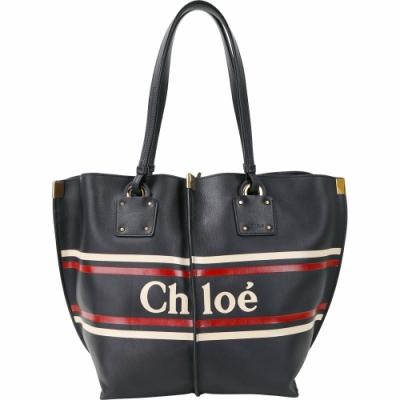 CHLOE VICK 中款 小牛皮撞色條紋托特包(夜藍色)