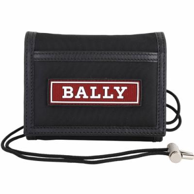 BALLY Eran 可拆掛繩矽膠字母厚磅尼龍零錢袋/短夾(黑色)