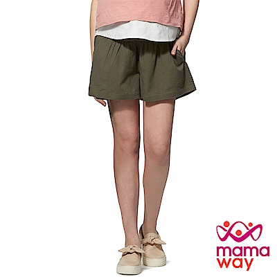 mamaway媽媽餵 竹節棉孕婦褲裙(共兩色)