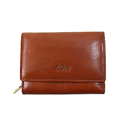 SIKA義大利時尚牛皮壓扣中夾A8249-01原味褐