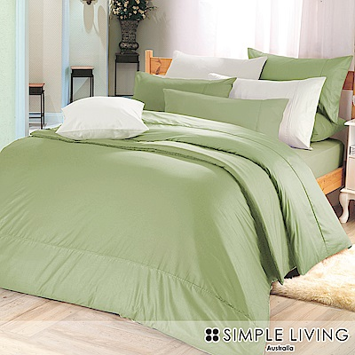 澳洲Simple Living 雙人300織台灣製純棉床包枕套組(橄欖綠)