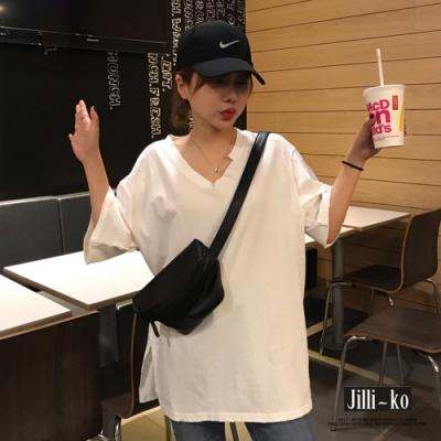 JILLI-KO 缺角造型開衩寬T恤- 白色