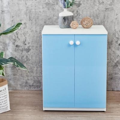 Birdie南亞塑鋼-防水2.1尺二門塑鋼收納櫃/窗邊置物櫃/組合櫃(白色+粉藍色)-63x36.5x84