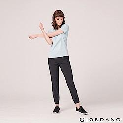 GIORDANO 女裝3M抗污透氣彈性運動休閒束口褲-19 標誌黑