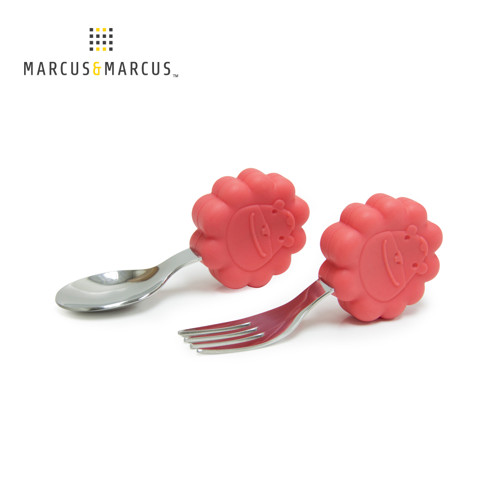 【MARCUS&MARCUS】動物樂園寶寶手握訓練叉匙-獅子(紅)