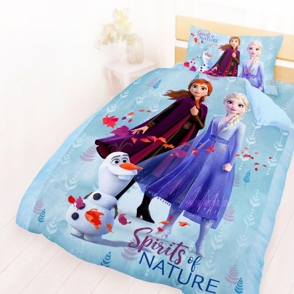 享夢城堡 單人床包雙人薄被套三件組-冰雪奇緣FROZEN迪士尼 秋日之森-藍