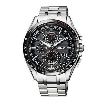 CITIZEN 電波計時光動能鈦皮帶腕錶/黑/AT8144-51E