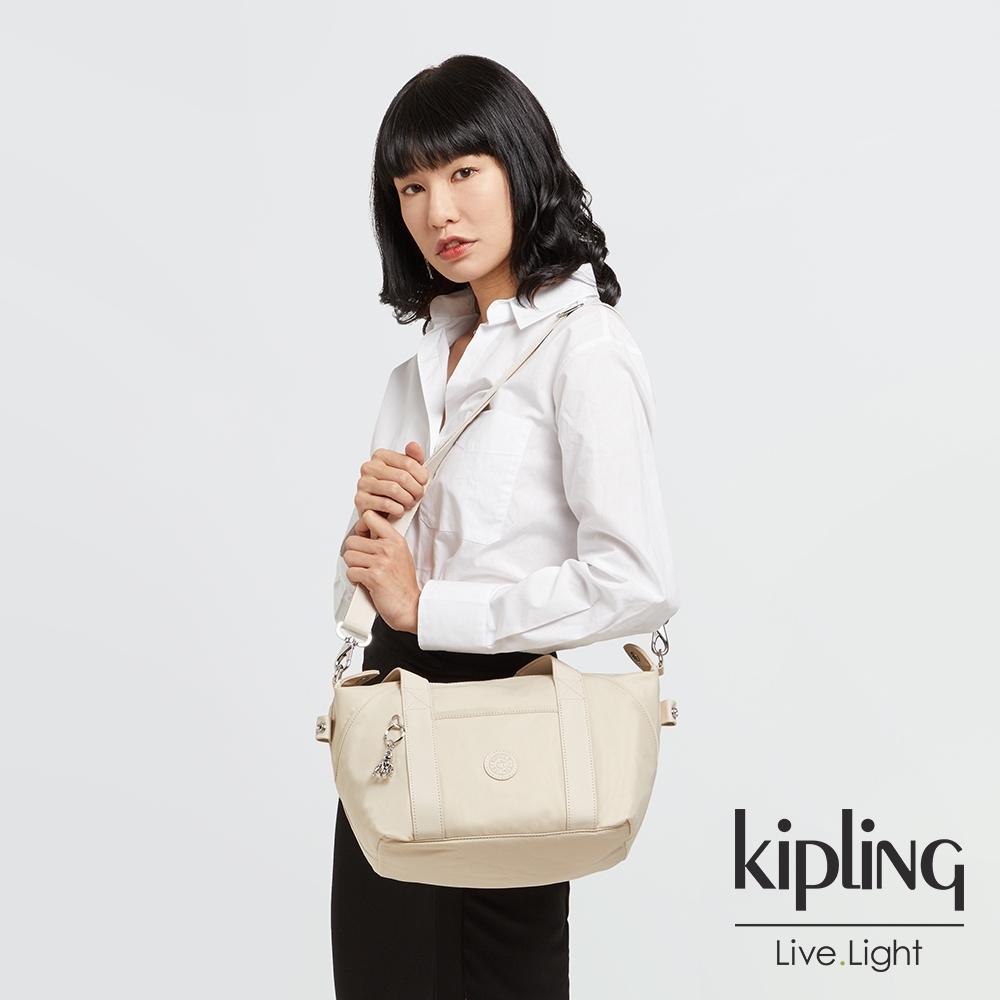Kipling 閃亮象牙粉手提側背包-ART MINI