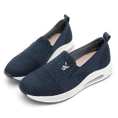 PLAYBOY 銀河星鑽 飛織加大氣墊休閒鞋-藍-Y7260FF