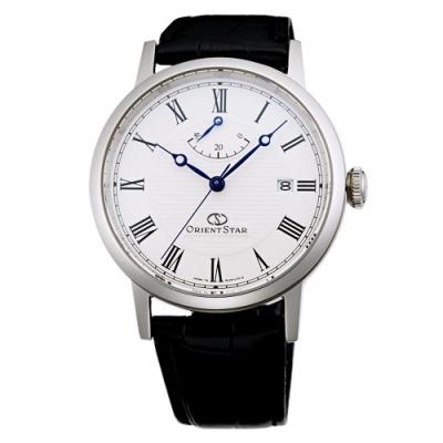 ORIENT 東方錶 STAR東方之星真皮機械手錶-白X黑/39mm
