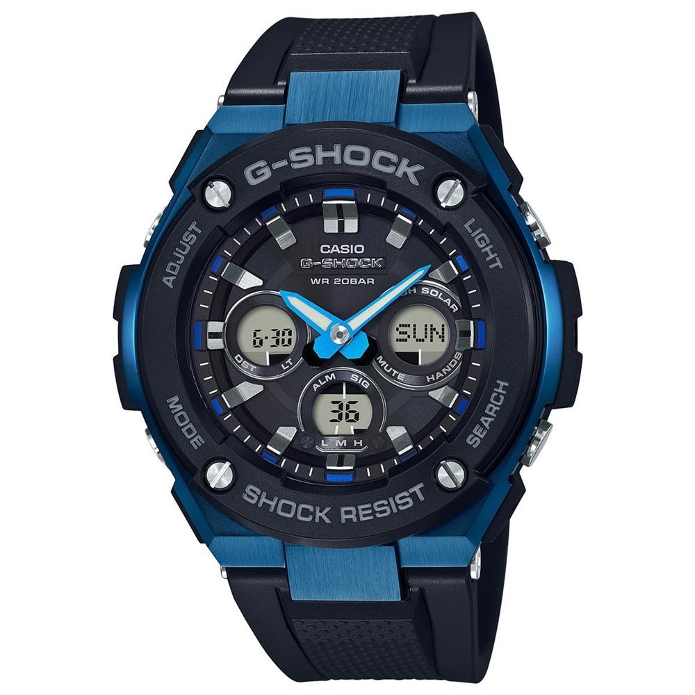 CASIO 卡西歐 G-SHOCK系列 高亮度LED強悍電子錶-黑×藍/49mm