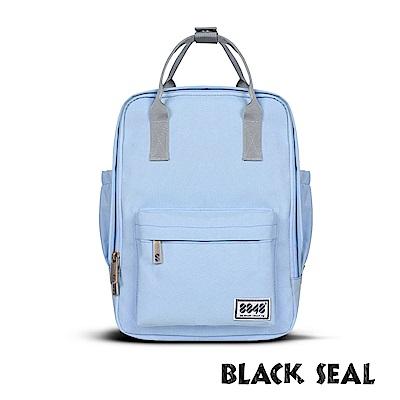 BLACK SEAL 聯名8848系列-多隔層休閒小方型後背包-水藍BS83008