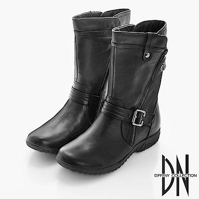 DN 率性百搭 牛皮金屬斜拉鍊造型中靴-黑