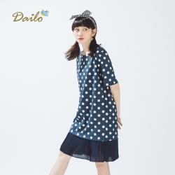 【Dailo】浪漫點點拼接長版-洋裝(三色)