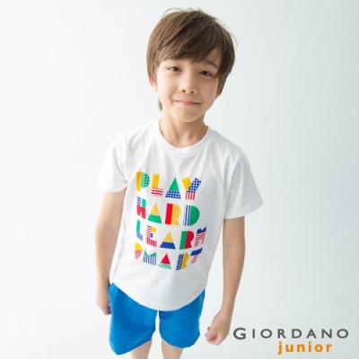 GIORDANO 童裝探索玩樂印花短袖T恤-21 標誌白
