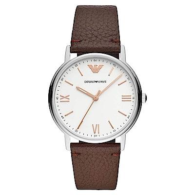 Emporio Armani 質感品味時尚真皮手錶(AR11173)-白X咖啡/41mm