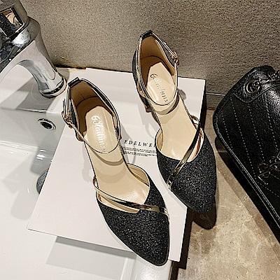 KEITH-WILL時尚鞋館 輕熟舒心一字扣粗跟鞋-黑色