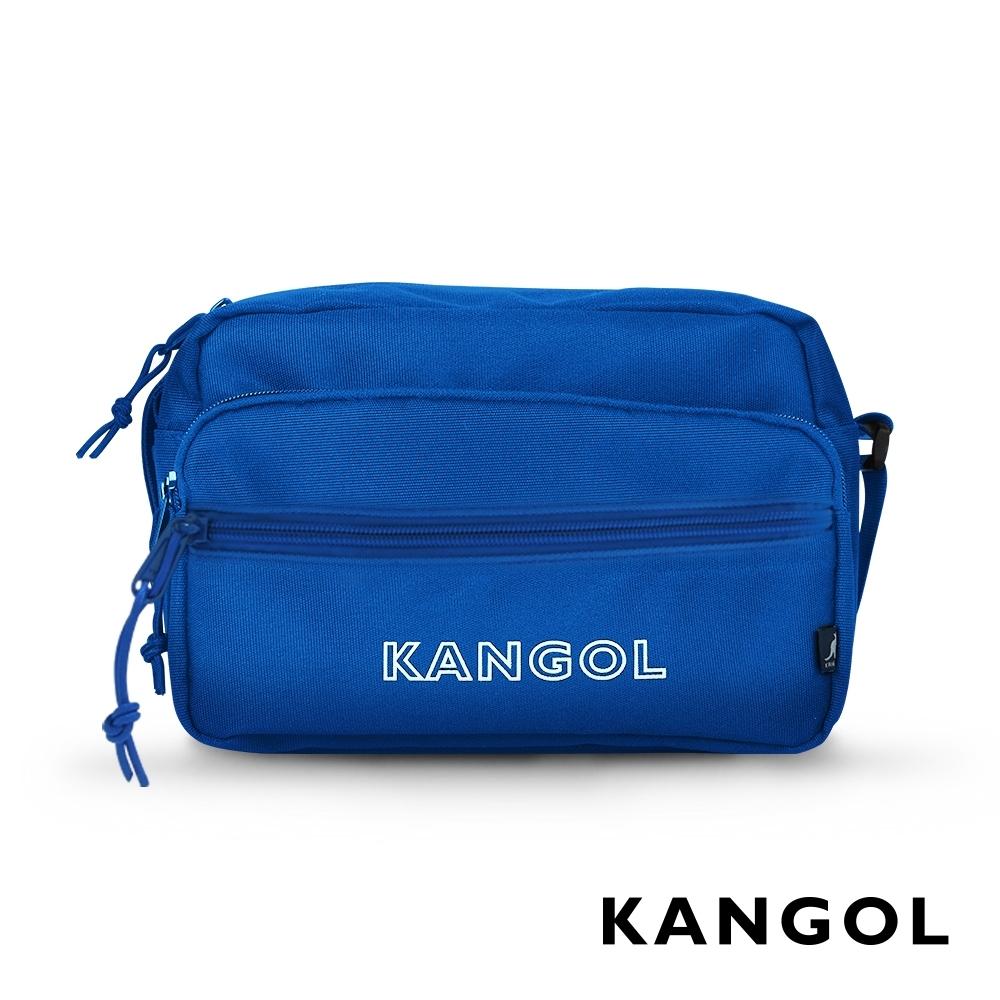 KANGOL LIBERTY系列 韓版潮流LOGO背帶橫式側背包-藍色 KG1192