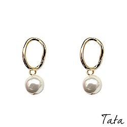 珍珠幾何彎形金屬垂墜耳環 TATA