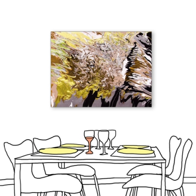 24mama掛畫-單聯式 藝術抽象 油畫風無框畫 60X80cm-金黃大地