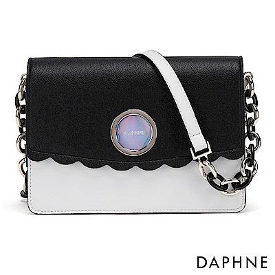 達芙妮DAPHNE-哥德環帶波浪撞色小方包-黑色