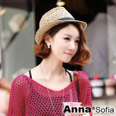 AnnaSofia 鏤空麻繩織 遮陽防曬紳士帽爵士帽(咖駝系)