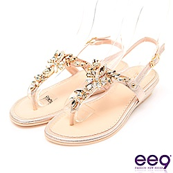 ee9 MIT經典手工鑲嵌閃耀亮鑽露趾夾腳拖鞋 金色