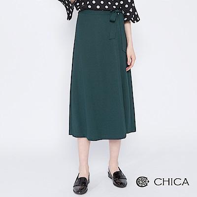 CHICA 文藝唯美側綁帶接片純色寬褲(2色)
