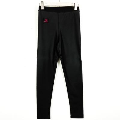 【SHOWCASE】彈性內刷絨保暖貼腿皮褲-黑
