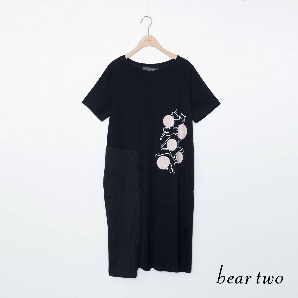 beartwo-貓咪與球長上衣-黑