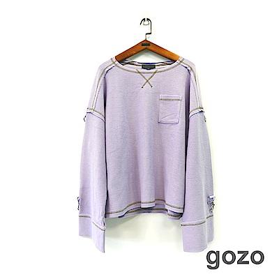 gozo 雙面織紋二穿設計袖上衣(二色)