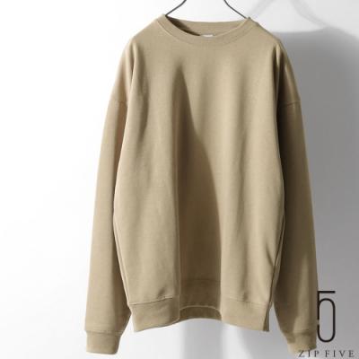 ZIP日本男裝 重磅雙羅紋針織素色圓領寬版運動衫 (3色)