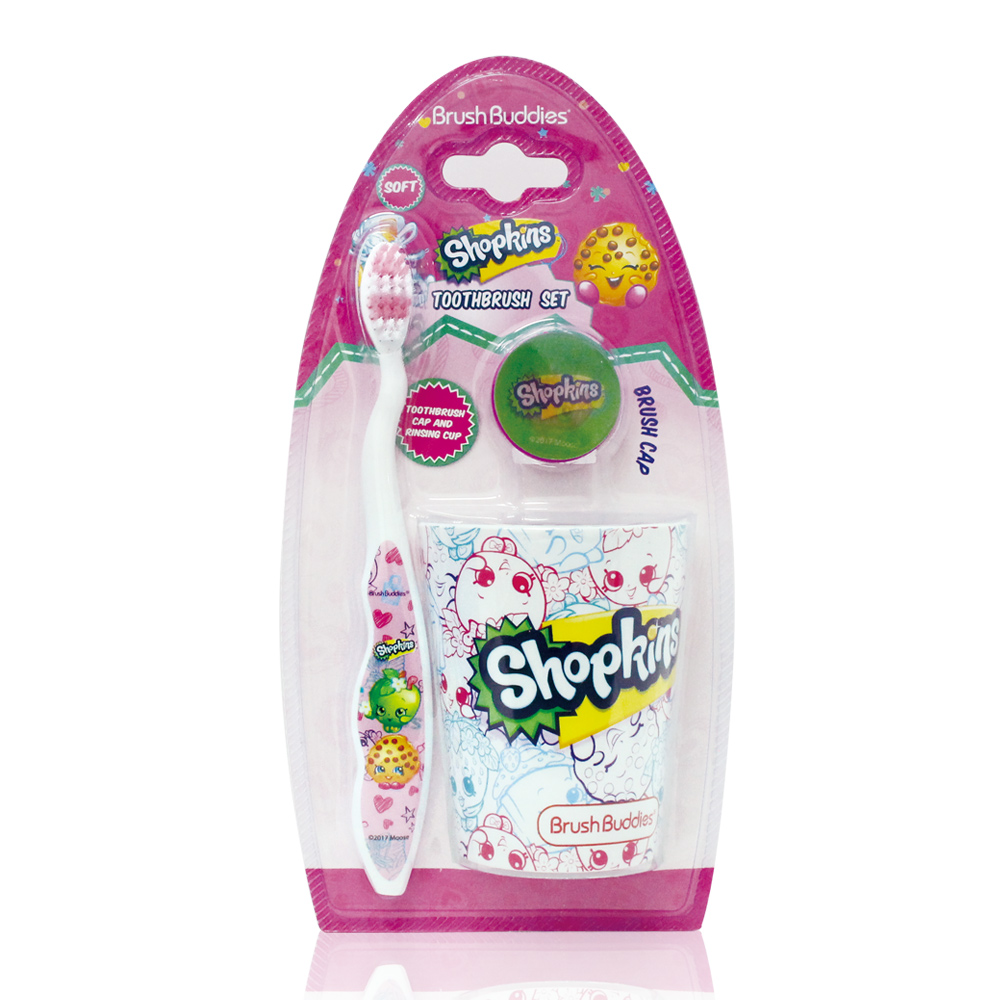 美國熱銷卡通 Shopkin 牙刷漱口杯組(適5歲以上)