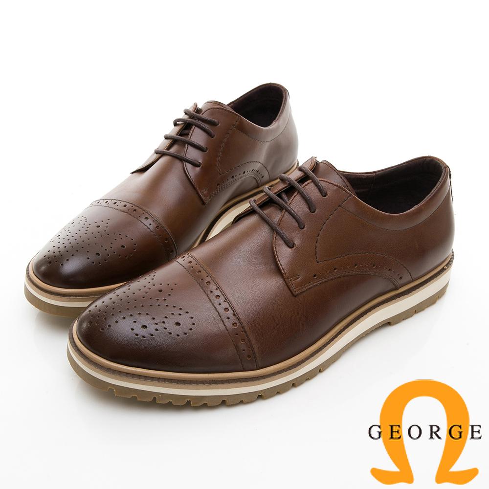 【GEORGE 喬治皮鞋】休閒系列 綁帶雕花紳士休閒皮鞋-棕色 @ Y!購物