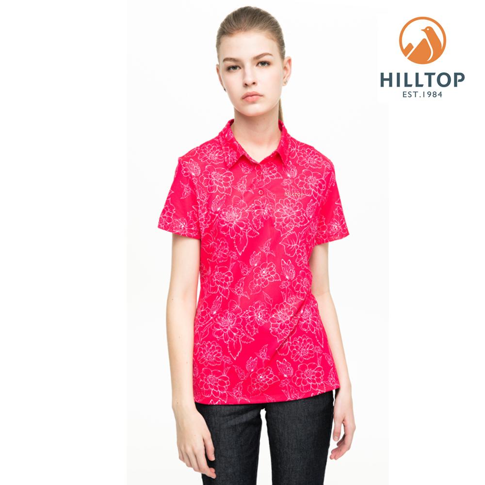 【hilltop山頂鳥】女款吸濕快乾抗UV抗菌POLO衫S14FF5擬粉印花