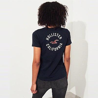 海鷗 Hollister 經典海鷗印刷標誌文字短袖T恤(女)-深藍色