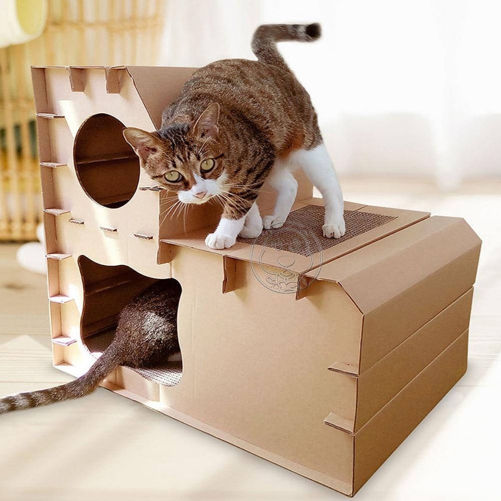 DYY》瓦楞紙DIY貓房雙層階梯組合貓屋貓別墅
