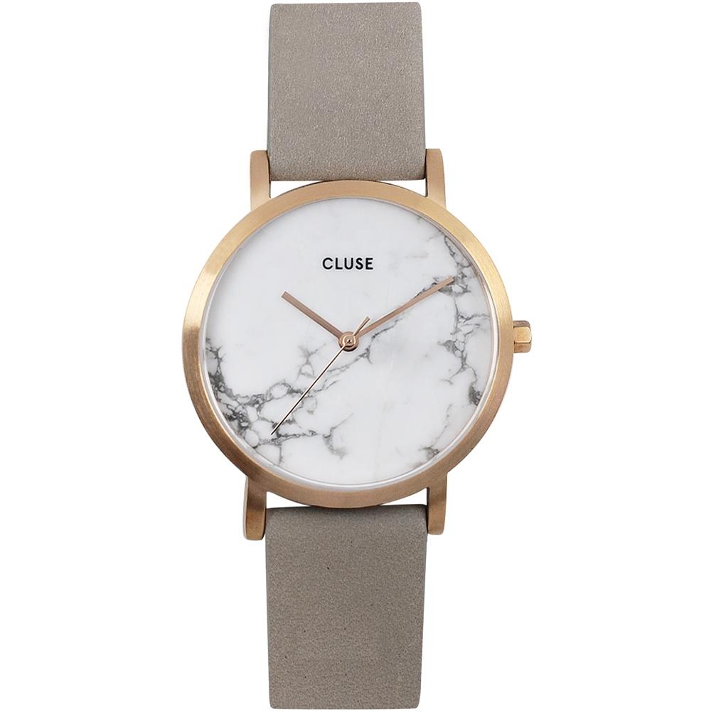 CLUSE大理石系列 白錶盤玫瑰金框灰色皮革錶帶手錶33mm