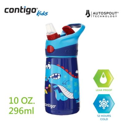 美國CONTIGO Striker 兒童保溫彩印吸管瓶295ml-藍色恐龍