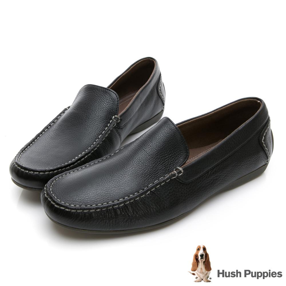 Hush Puppies SCHNAUZER 皮革質感開車鞋-黑