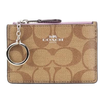 COACH LOGO緹花PVC鑰匙零錢夾(卡其茉莉花紫)
