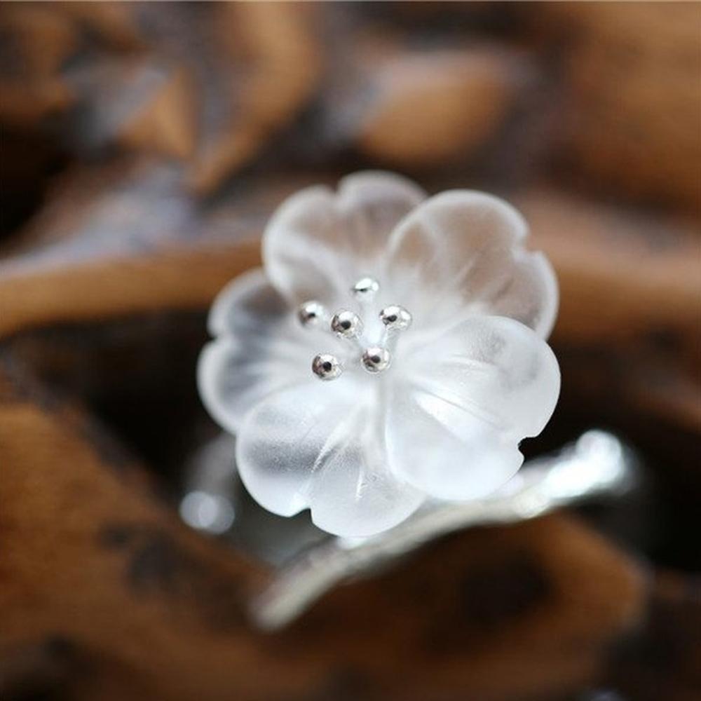 東方美學透明水晶花朵樹枝純銀戒指一朵花 戒指可調節-設計所在