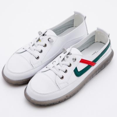 River&Moon大尺碼韓式真皮牛筋軟底小白鞋 白綠