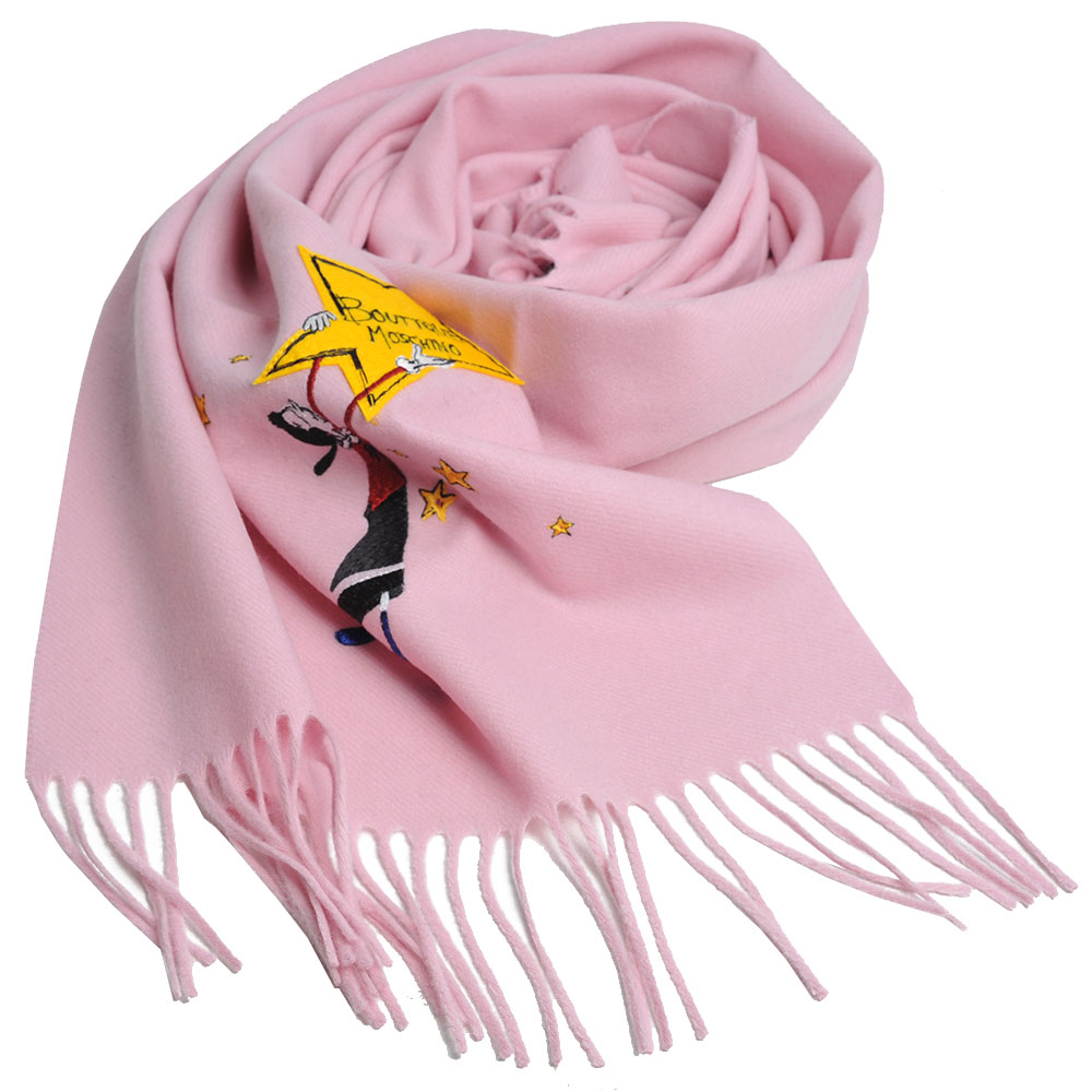MOSCHINO BOUTIQUE 奧莉薇刺繡圖騰美麗諾羊毛披肩/圍巾(粉紅)