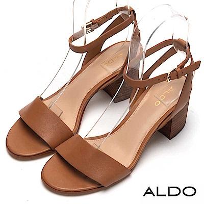 ALDO 原色真皮一字鞋面金屬釦帶粗跟涼鞋~都會焦糖