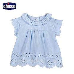 chicco-春日花園-繡花蕾絲傘狀短袖上衣