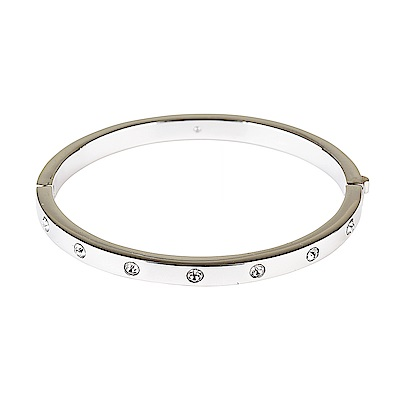 kate spade經典簡約設計鑽鑲飾扣式手環(銀)